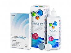 Clear All-Day (6 lęšiai) + valomasis tirpalas Gelone 360 ml