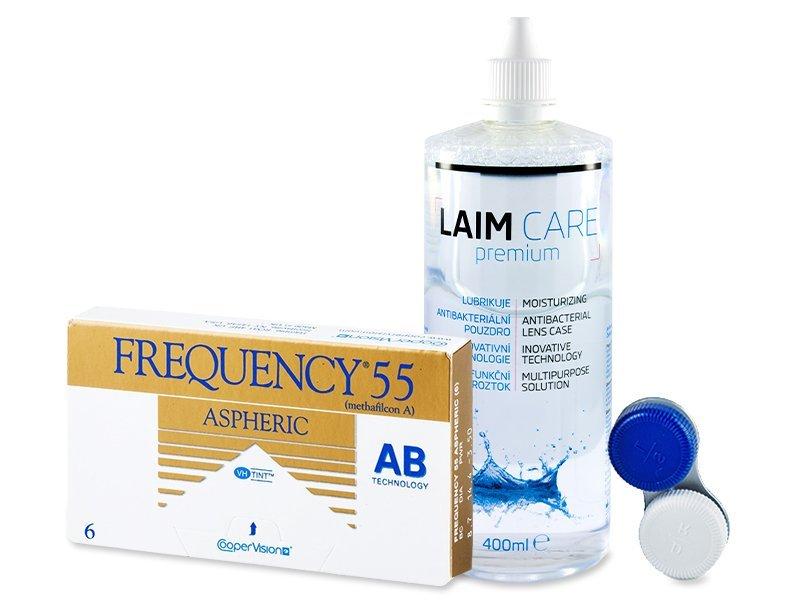 Frequency 55 Aspheric (6lęšiai) +valomasis tirpalas Laim-Care400 ml