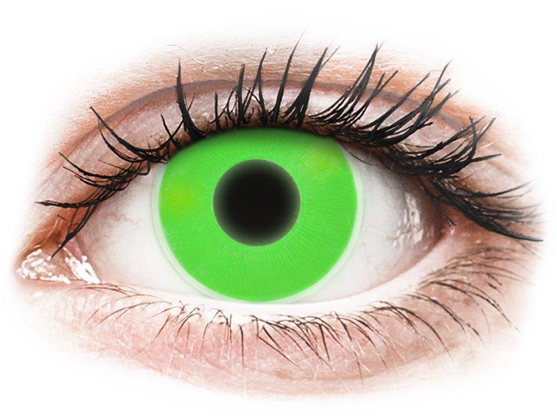 ColourVUE Crazy Glow Green - be dioptrijų (2 lęšiai)