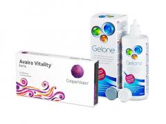Avaira Vitality Toric (3 lęšiai) + valomasis tirpalas Gelone 360 ml