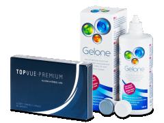 TopVue Premium (6 lęšiai) +valomasis tirpalas Gelone360ml