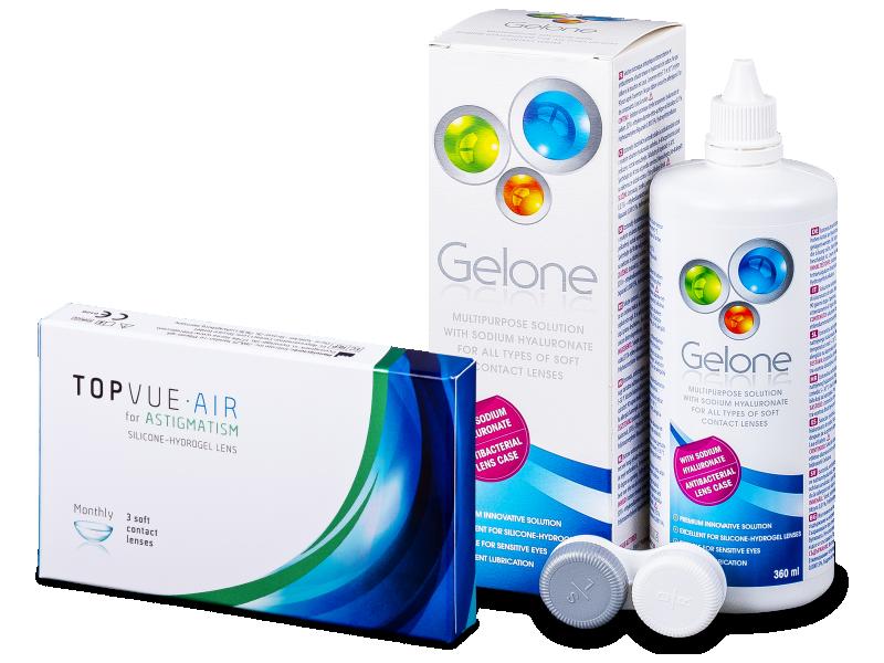 TopVue Air for Astigmatism (3lęšiai) + valomasis tirpalas Gelone 360 ml