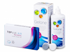 TopVue Air Multifocal (3 lęšiai) + valomasis tirpalas Gelone 360 ml