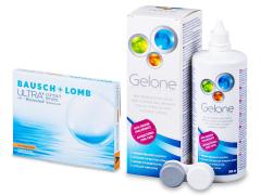 Bausch + Lomb ULTRA for Astigmatism(3 lęšiai) + valomasis tirpalas Gelone 360 ml