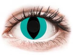 CRAZY LENS - Cat Eye Aqua - vienadieniai be dioptrijų (2 lęšiai)