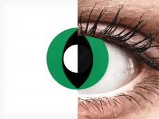 CRAZY LENS - Cat Eye Green - vienadieniai be dioptrijų (2 lęšiai)