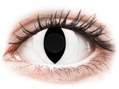 CRAZY LENS - Cat Eye White - vienadieniai be dioptrijų (2 lęšiai)